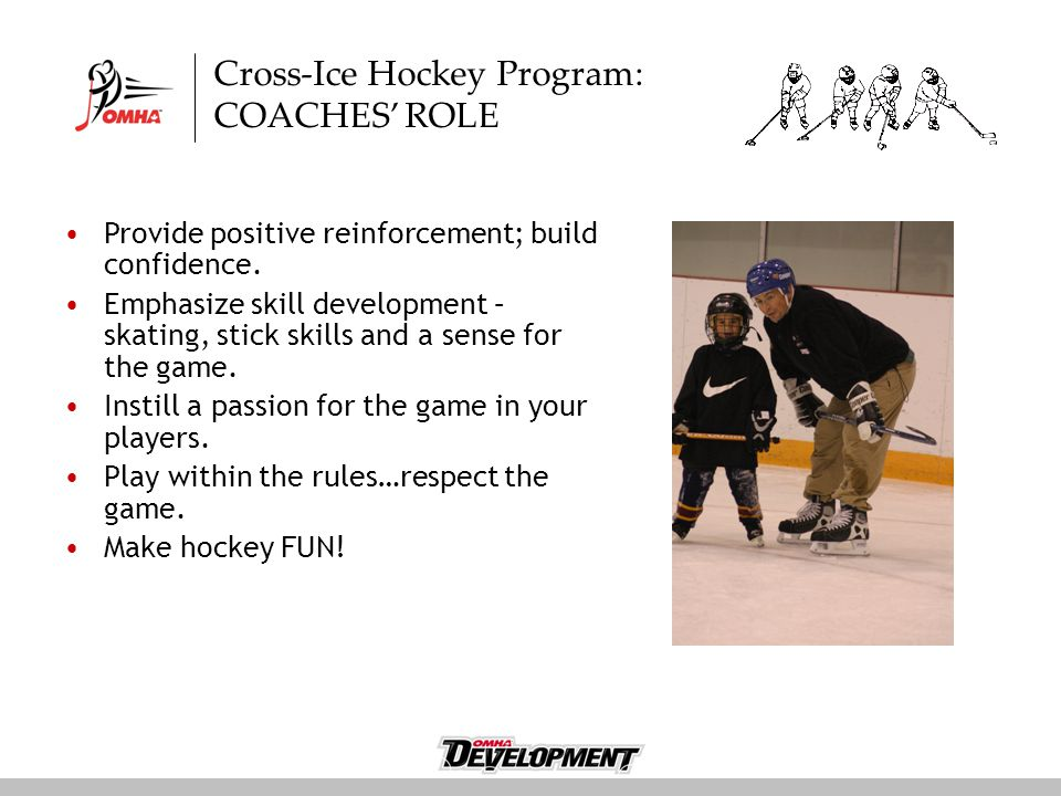 Cross-Ice Hockey Program: COACHES' ROLE Provide positive reinforcement; build confidence.