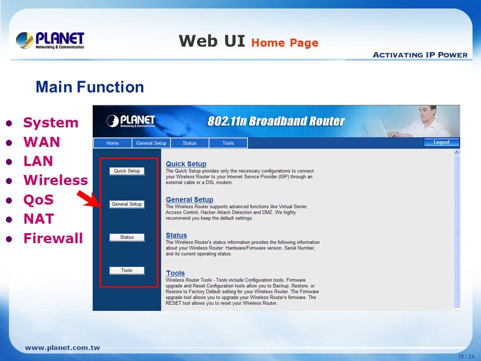 www.planet.com.tw 16 / 24 Web UI Home Page System WAN LAN Wireless QoS NAT Firewall Main Function