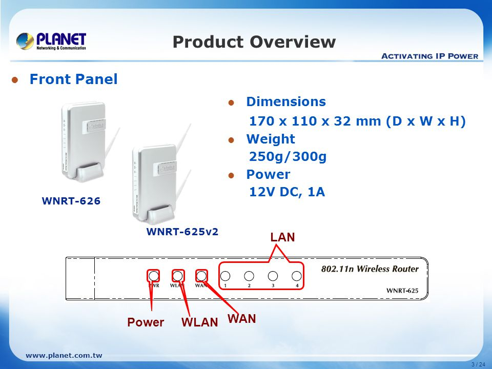 www.planet.com.tw 3 / 24 Product Overview Front Panel PowerWLAN WAN LAN Dimensions 170 x 110 x 32 mm (D x W x H) Weight 250g/300g Power 12V DC, 1A WNR