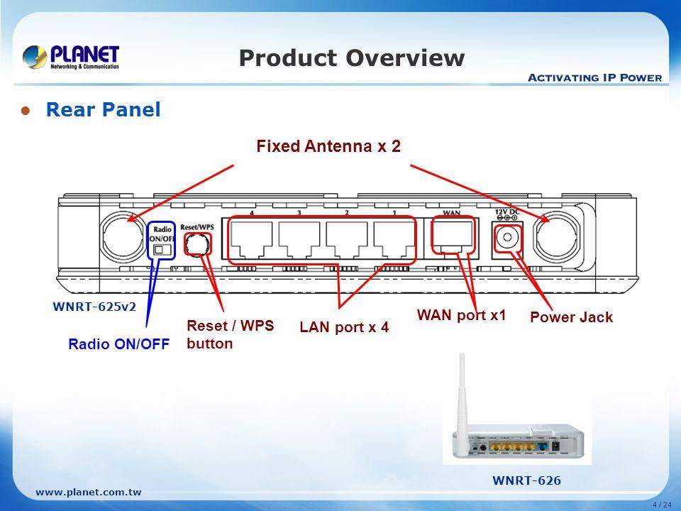 www.planet.com.tw 4 / 24 LAN port x 4 Power Jack WAN port x1 Reset / WPS button Rear Panel Product Overview Fixed Antenna x 2 WNRT-626 WNRT-625v2 Radi