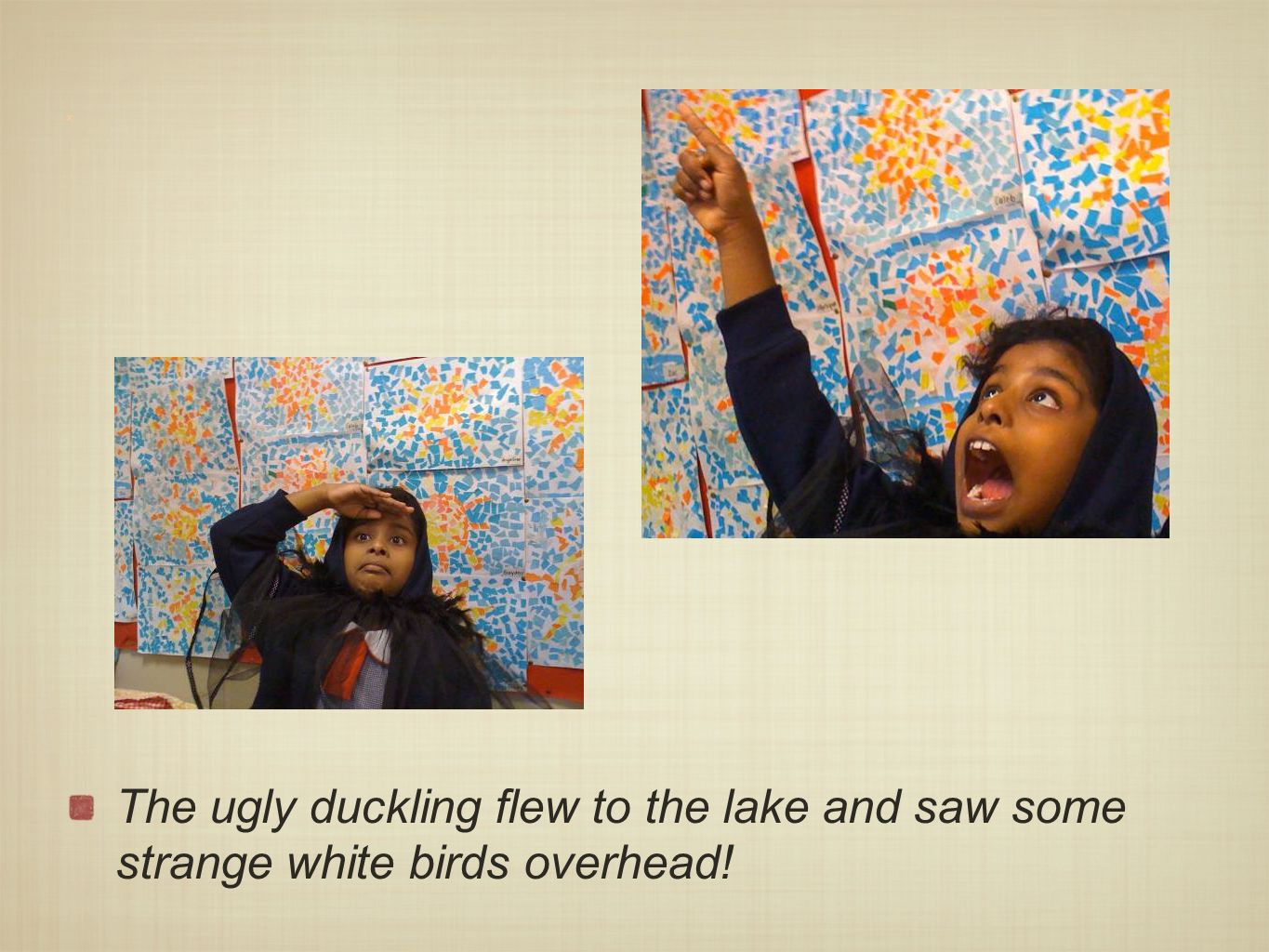 x The ugly duckling flew to the lake and saw some strange white birds overhead!