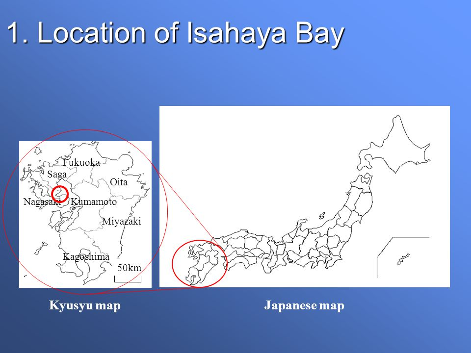 1.Location of Isahaya Bay Sea-dyke Isahaya Bay Ariake Sound Takezaki Is.