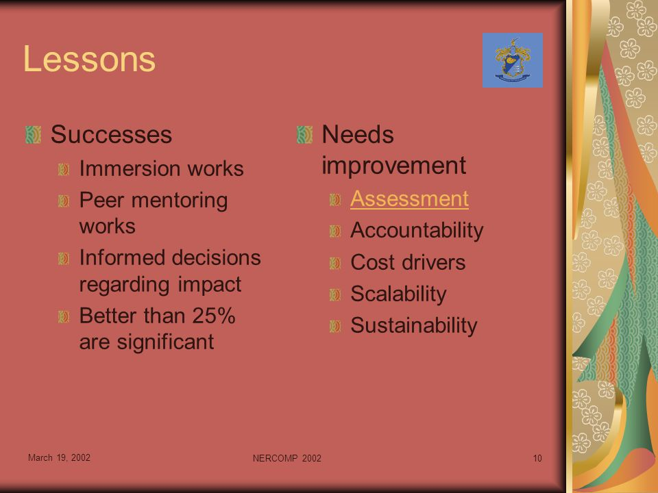 March 19, 2002 NERCOMP 200210 Lessons Successes Immersion works Peer mentoring works Informed decisions regarding impact Better than 25% are significant Needs improvement Assessment Accountability Cost drivers Scalability Sustainability