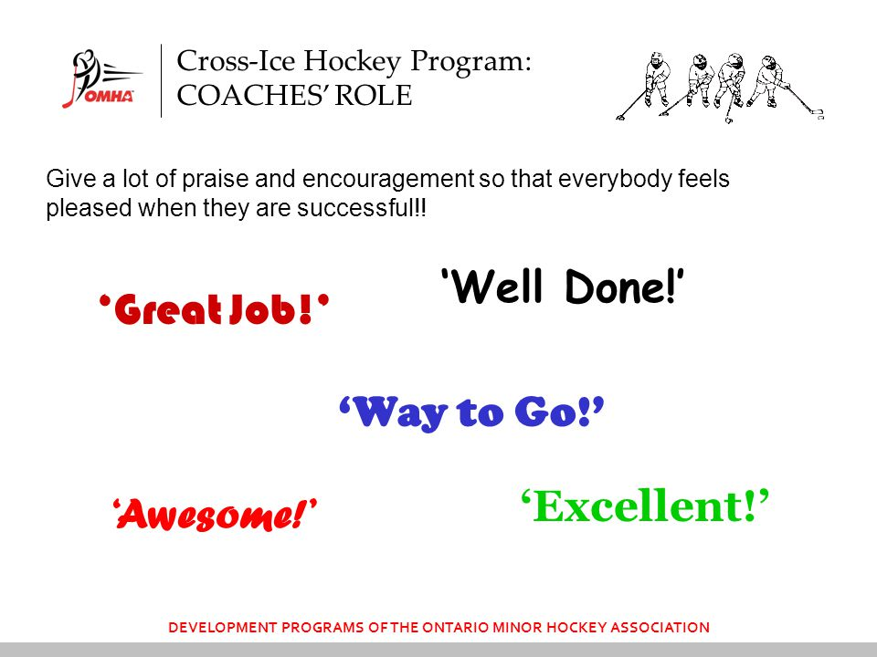 DEVELOPMENT PROGRAMS OF THE ONTARIO MINOR HOCKEY ASSOCIATION Give a lot of praise and encouragement so that everybody feels pleased when they are successful!.