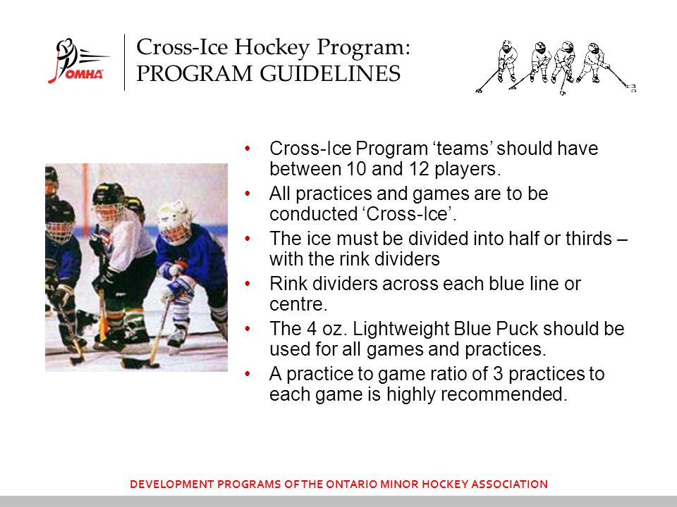 DEVELOPMENT PROGRAMS OF THE ONTARIO MINOR HOCKEY ASSOCIATION Cross-Ice Hockey Program: PROGRAM GUIDELINES Cross-Ice Program 'teams' should have between 10 and 12 players.