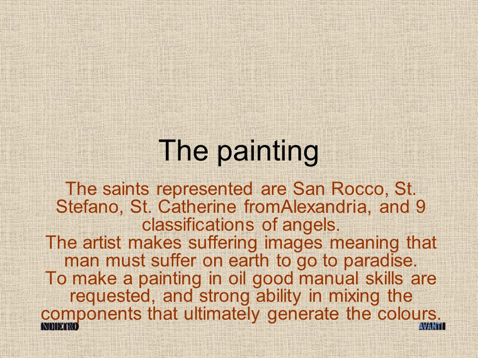 The saints represented are San Rocco, St. Stefano, St.