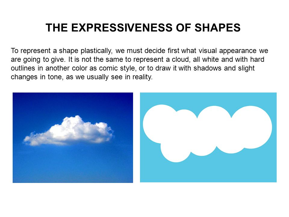 THE EXPRESSIVENESS OF SHAPES To represent a shape plastically, we must decide first what visual appearance we are going to give.