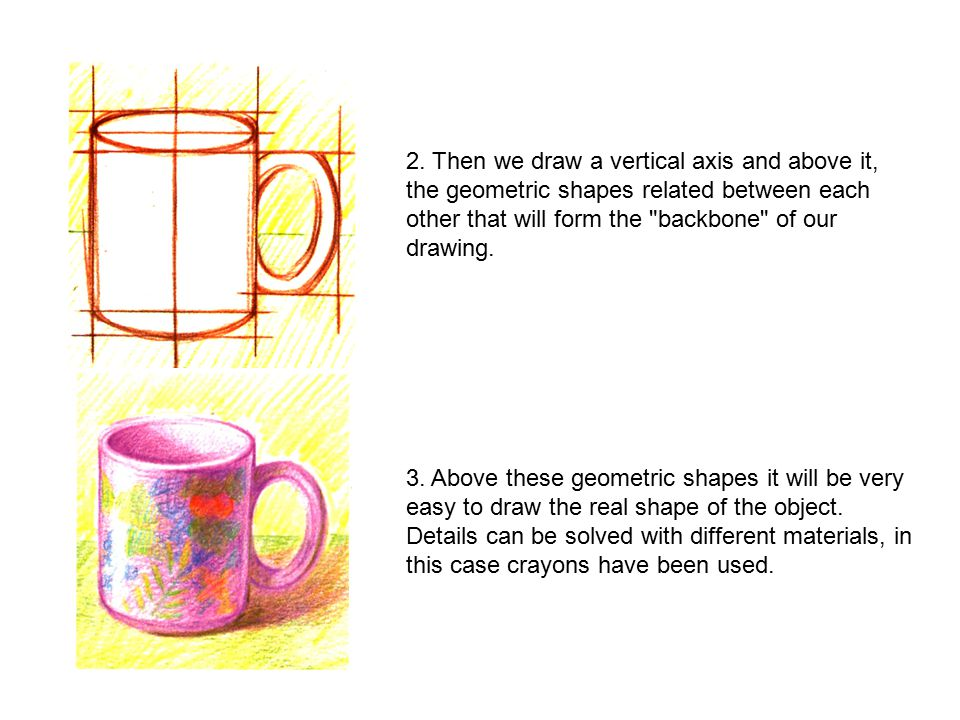 2. Then we draw a vertical axis and above it, the geometric shapes related between each other that will form the