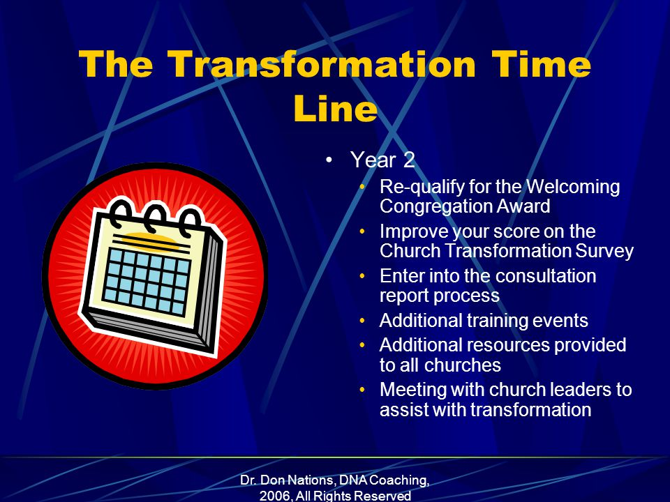 Dr. Don Nations, DNA Coaching, 2006, All Rights Reserved The Transformation Time Line Year 2 Re-qualify for the Welcoming Congregation Award Improve y