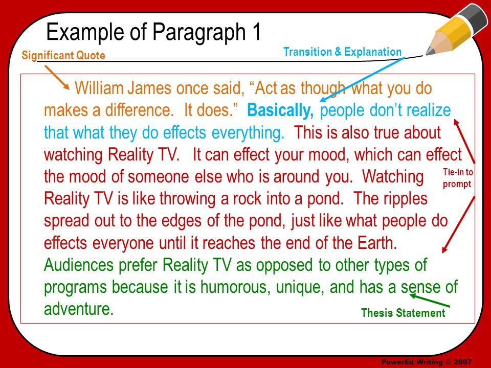PowerEd Writing © 2007 Example of Paragraph 1 William James once said, Act as though what you do makes a difference.