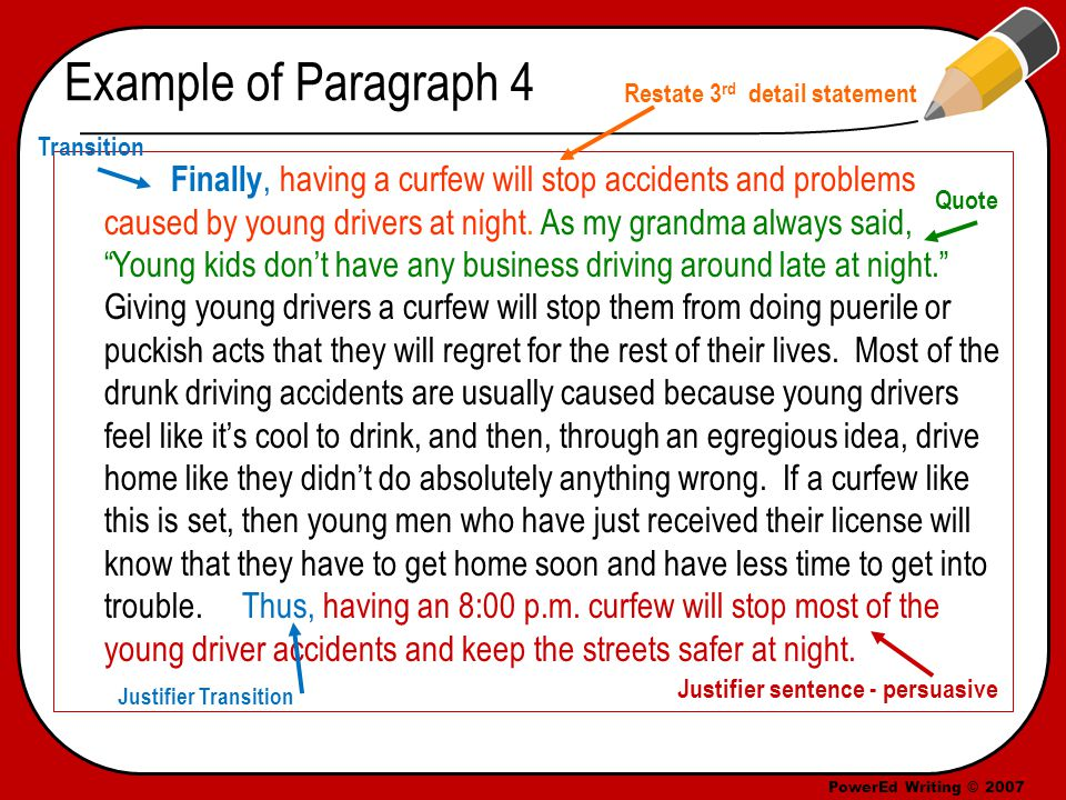 PowerEd Writing © 2007 Example of Paragraph 4 Finally, having a curfew will stop accidents and problems caused by young drivers at night.