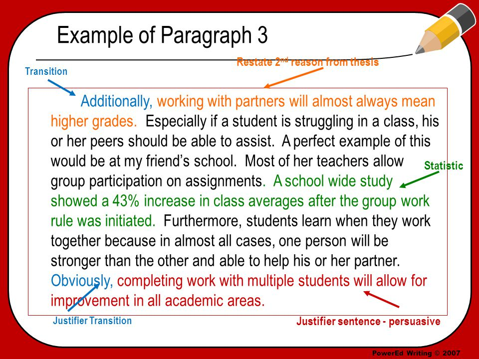PowerEd Writing © 2007 Paragraph 4 – Third Point Begin with a transition and your third reason from thesis statement Example Transitions: – Of course, – Furthermore, Follow up with a minimum of 3 solid sentences to support your reason – Use a quote, example, or statistic End with a justifier sentence (restate the main idea of the paragraph) – Use a justifier transition such as: Thus,