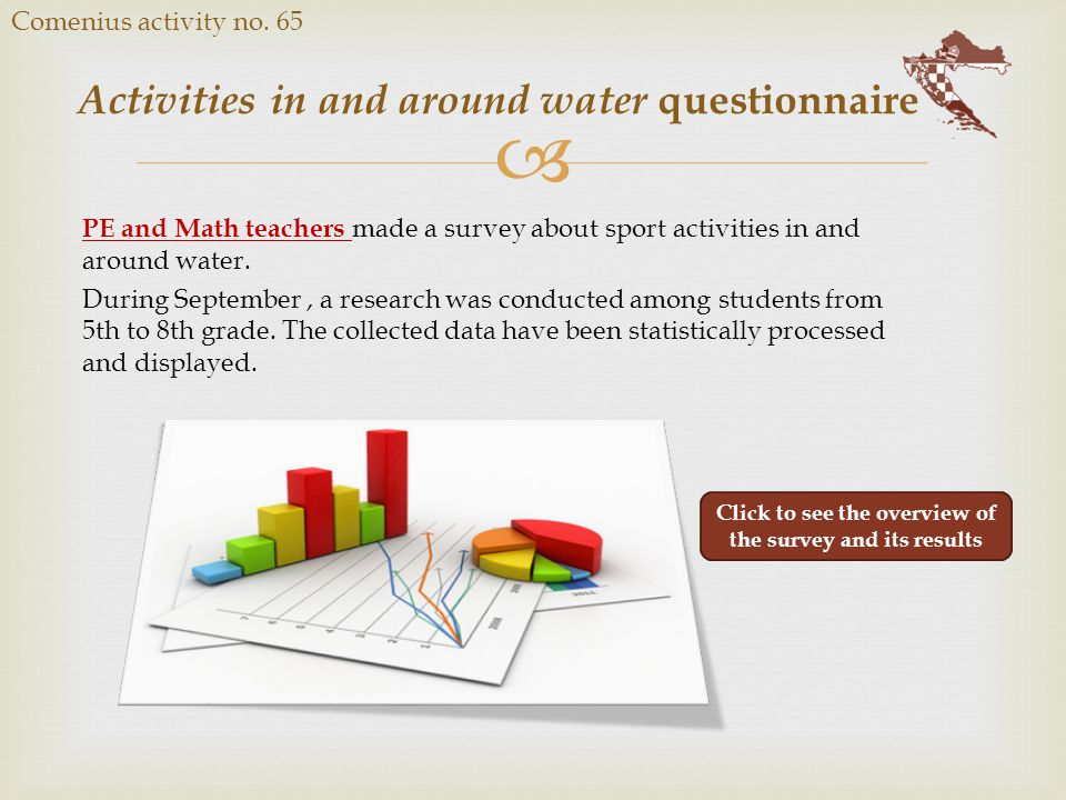  Activities in and around water questionnaire Comenius activity no. 65 PE and Math teachers made a survey about sport activities in and around water.