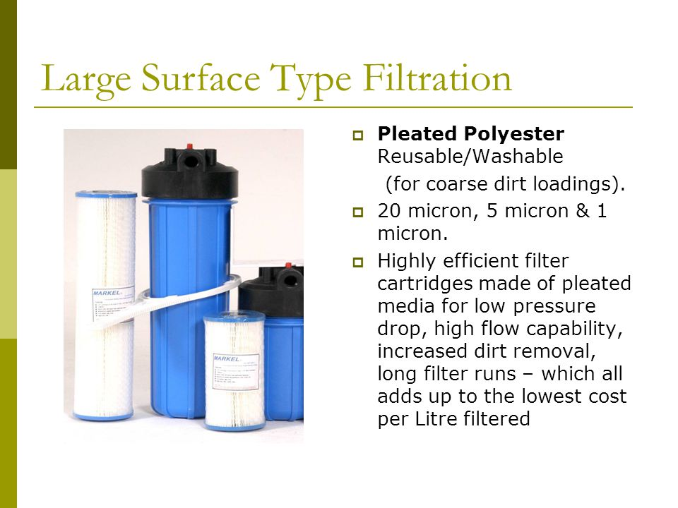Large Surface Type Filtration  Pleated Polyester Reusable/Washable (for coarse dirt loadings).