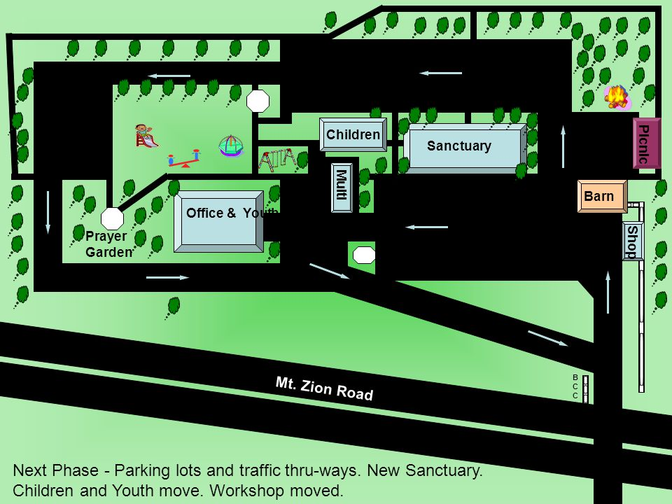 Barn BCCBCC Sanctuary Prayer Garden Next Phase - Parking lots and traffic thru-ways.