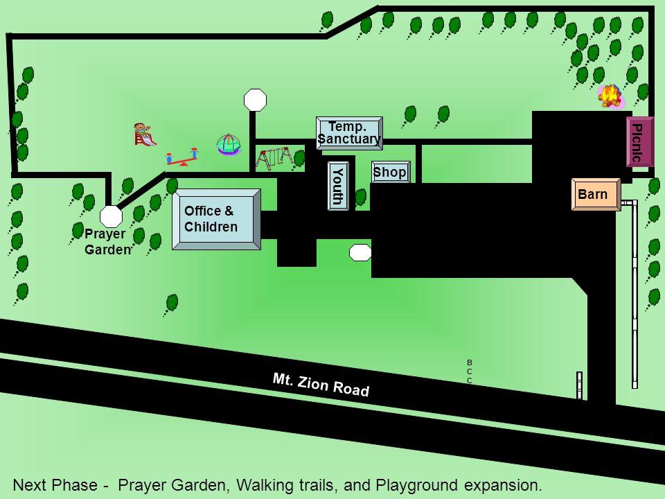 Barn Prayer Garden Next Phase - Prayer Garden, Walking trails, and Playground expansion.