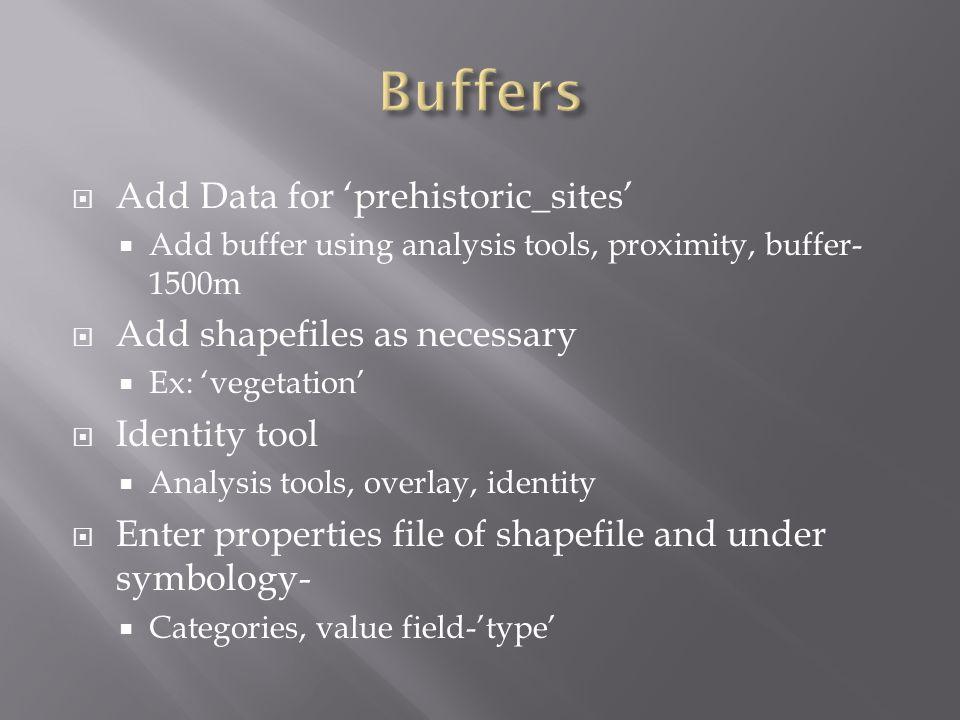  Add Data for 'prehistoric_sites'  Add buffer using analysis tools, proximity, buffer- 1500m  Add shapefiles as necessary  Ex: 'vegetation'  Iden