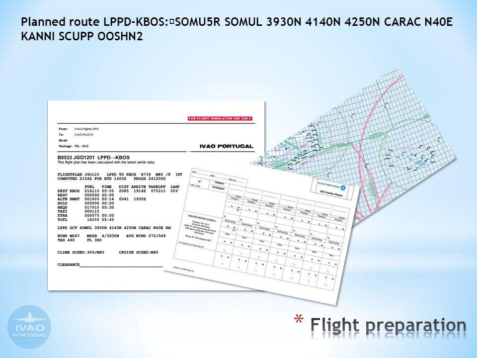 Planned route LPPD-KBOS: SOMU5R SOMUL 3930N 4140N 4250N CARAC N40E KANNI SCUPP OOSHN2