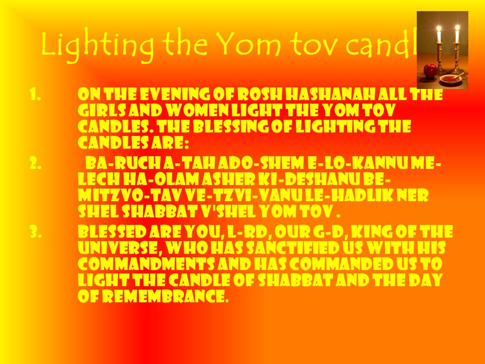 2 Lighting ...  sc 1 st  SlidePlayer & Lighting the Yom tov candles 1.On the evening of Rosh Hashanah all ... azcodes.com