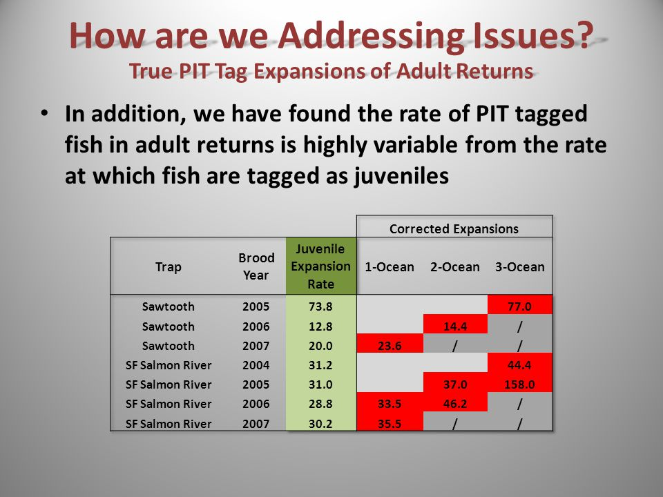 In addition, we have found the rate of PIT tagged fish in adult returns is highly variable from the rate at which fish are tagged as juveniles How are we Addressing Issues.