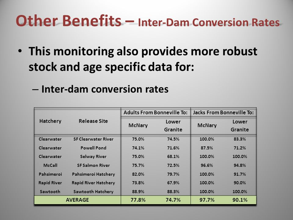 This monitoring also provides more robust stock and age specific data for: – Inter-dam conversion rates Other Benefits – Inter-Dam Conversion Rates
