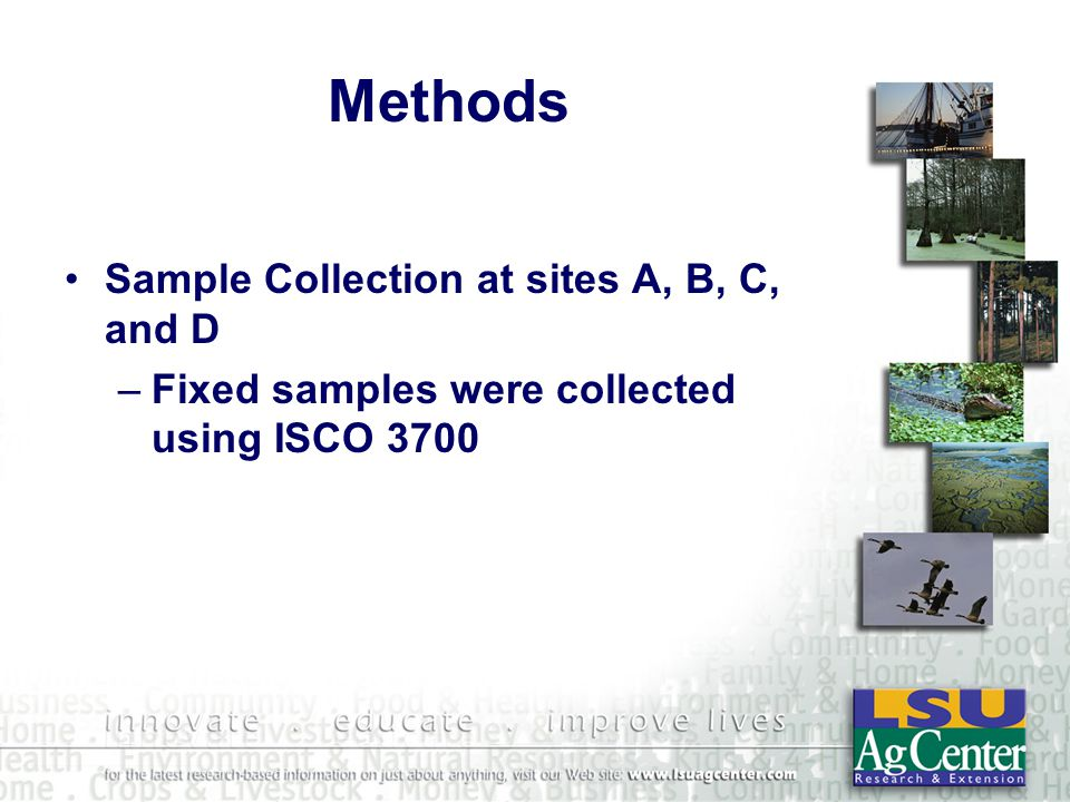 Methods Sample Collection at sites A, B, C, and D –Fixed samples were collected using ISCO 3700