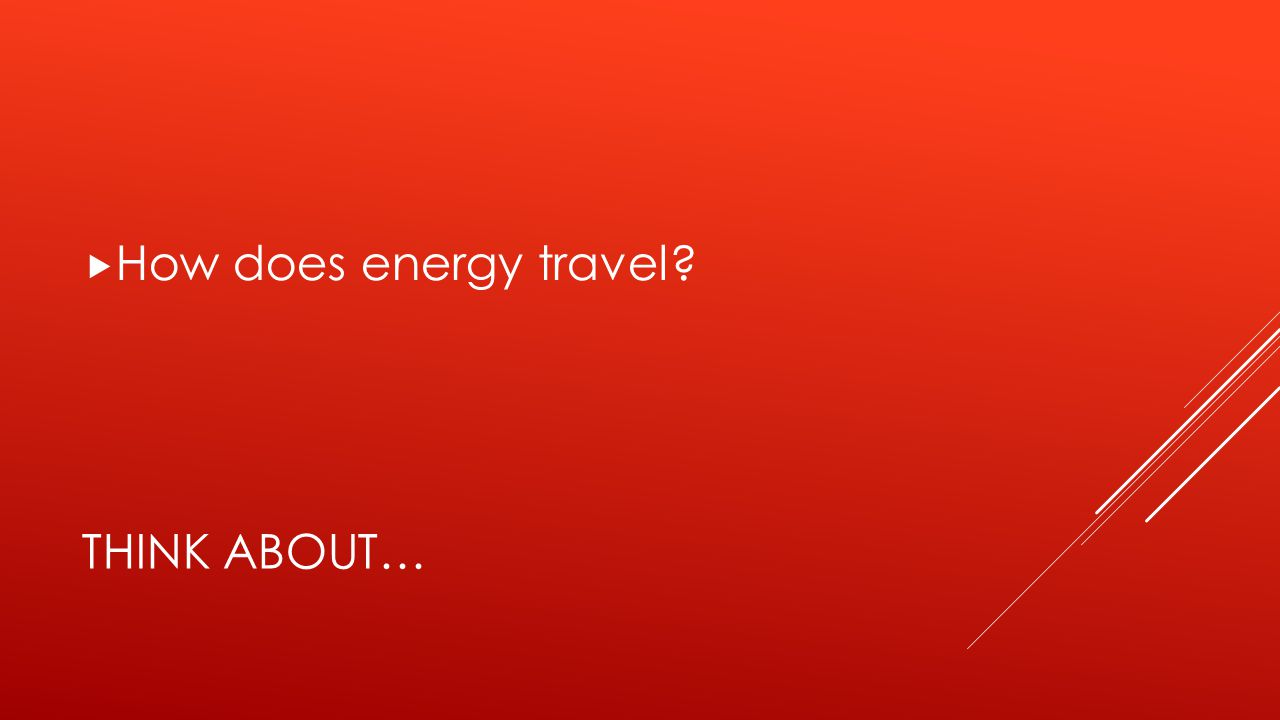 THINK ABOUT…  How does energy travel?