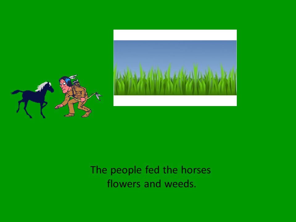 The people fed the horses flowers and weeds.