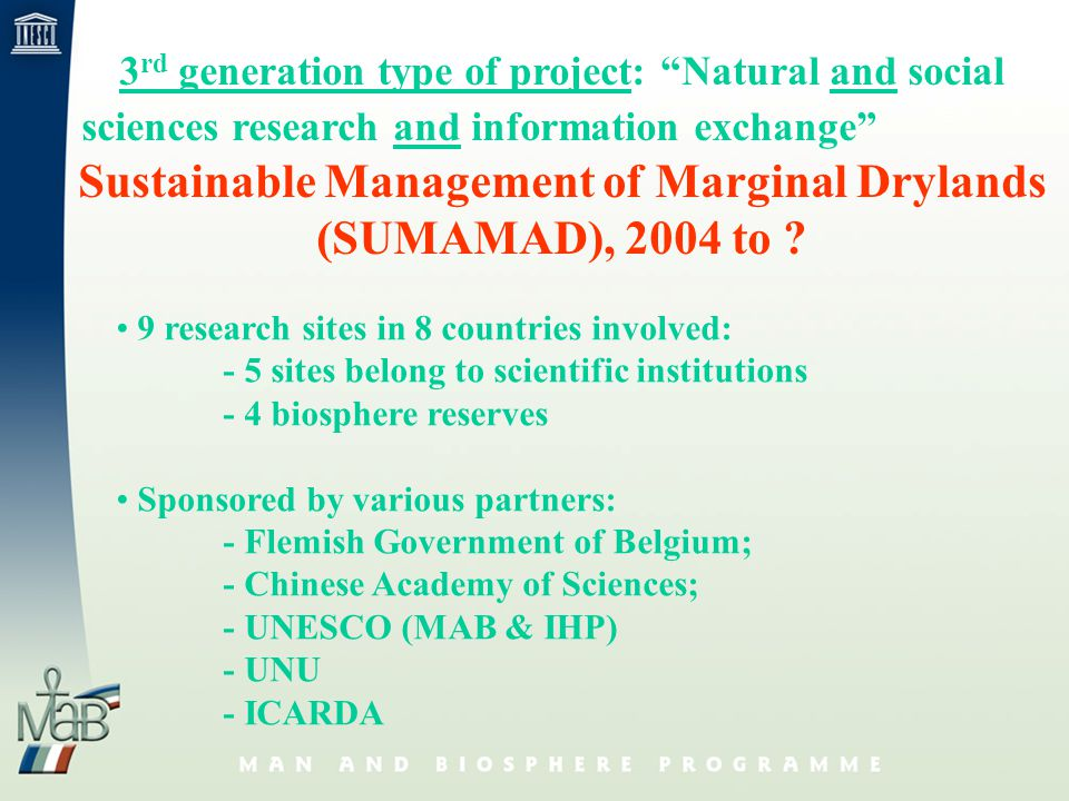 3 rd generation type of project: Natural and social sciences research and information exchange Sustainable Management of Marginal Drylands (SUMAMAD), 2004 to .