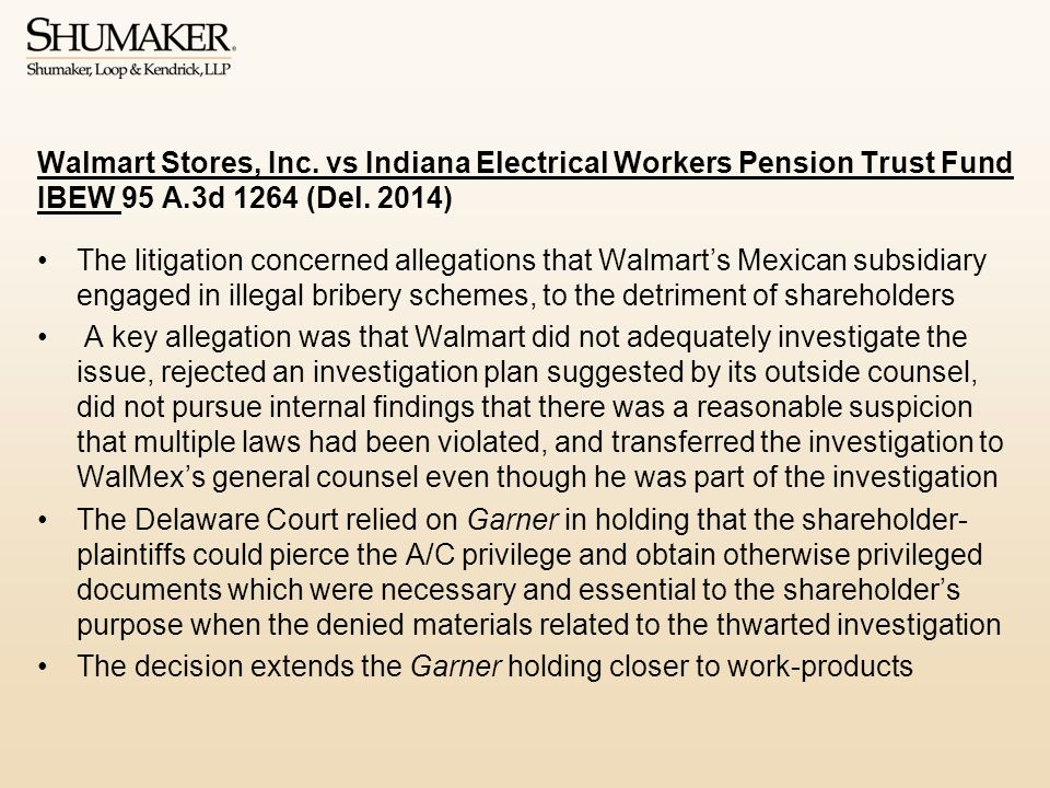 Walmart Stores, Inc.vs Indiana Electrical Workers Pension Trust Fund IBEW 95 A.3d 1264 (Del.