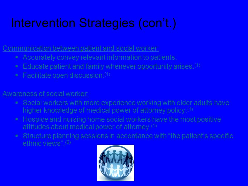 Intervention Strategies (con't.) Communication between patient and social worker:  Accurately convey relevant information to patients.