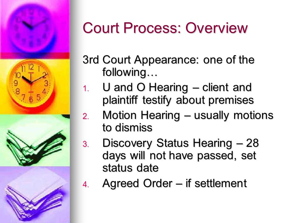 Court Process: Overview 3rd Court Appearance: one of the following… 1.