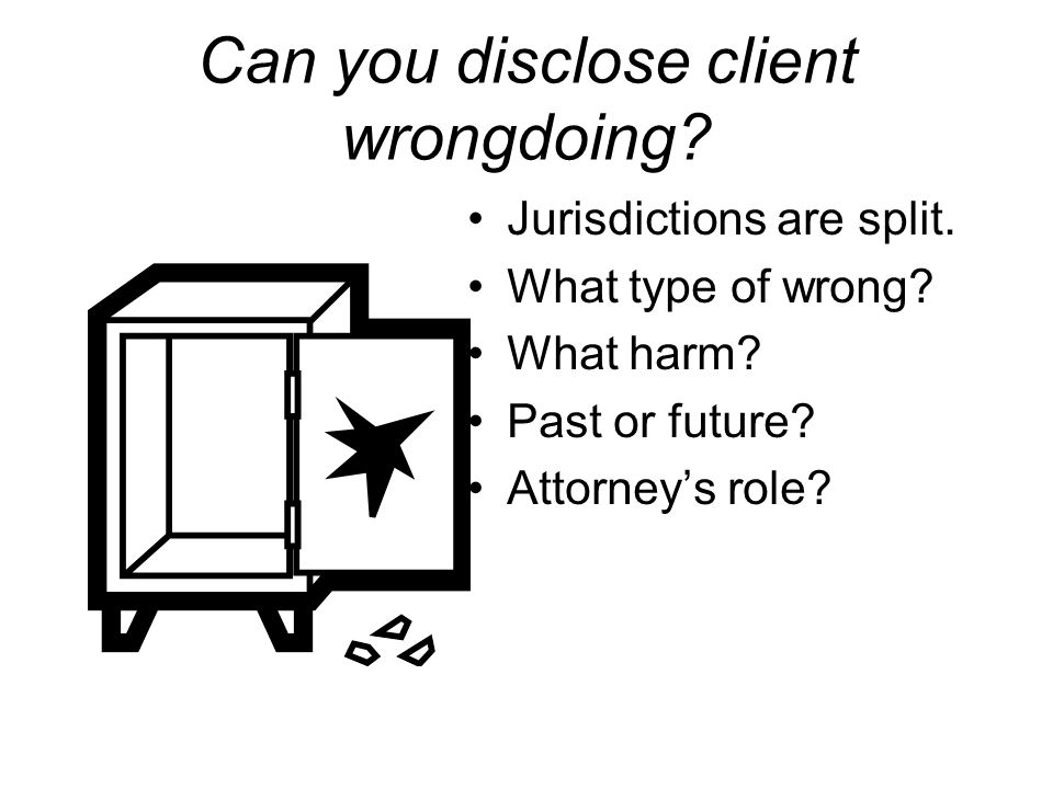 Can you disclose client wrongdoing? Jurisdictions are split. What type of wrong? What harm? Past or future? Attorney's role?