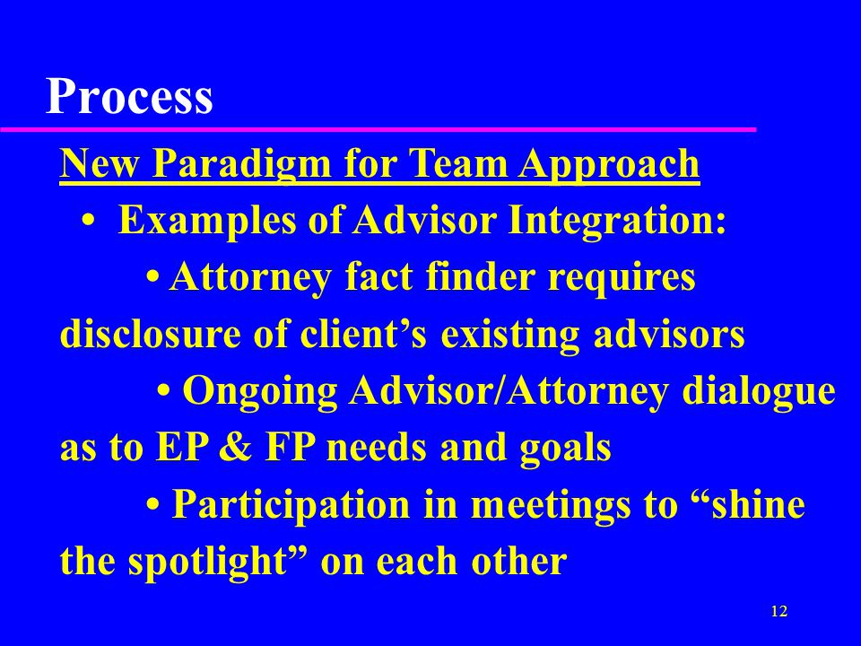 12 Process New Paradigm for Team Approach Examples of Advisor Integration: Attorney fact finder requires disclosure of client's existing advisors Ongoing Advisor/Attorney dialogue as to EP & FP needs and goals Participation in meetings to shine the spotlight on each other