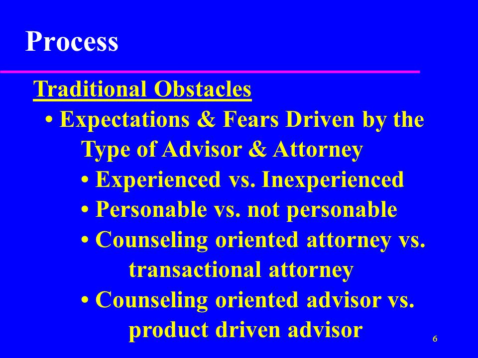 7 Process Most Traditional Relationships do NOT work because: No Stable Process or System Struggles over Lack of Control & Lack of Structure lead to Poor Results