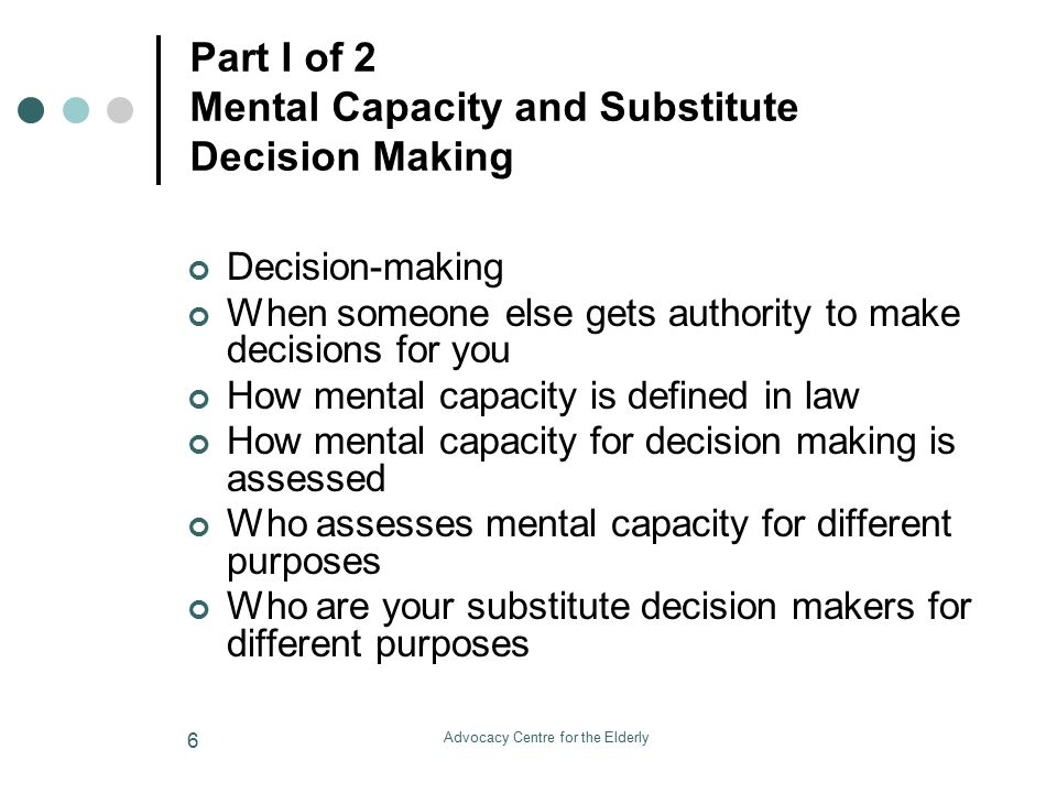 Advocacy Centre for the Elderly 7 Today's Webinar - Part 2 of 2 Powers of Attorney and other Substitute Decision Making Authorities What is a Power of attorney Different types of POAs Why you may want to prepare a POA How you can prepare a POA When a POA comes into effect and why What happens if you haven't prepared a POA The authority of the attorney named in a POA.