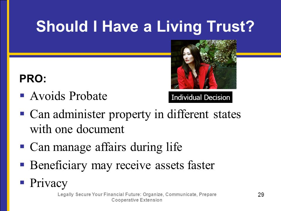 Legally Secure Your Financial Future: Organize, Communicate, Prepare Cooperative Extension 29 Should I Have a Living Trust.