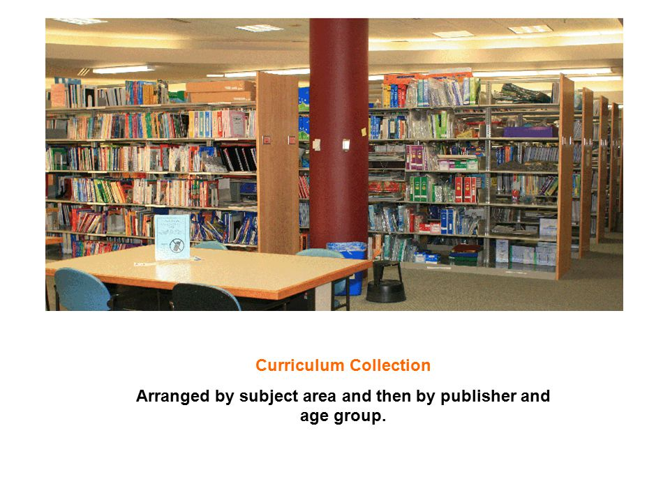 Curriculum Collection Arranged by subject area and then by publisher and age group.