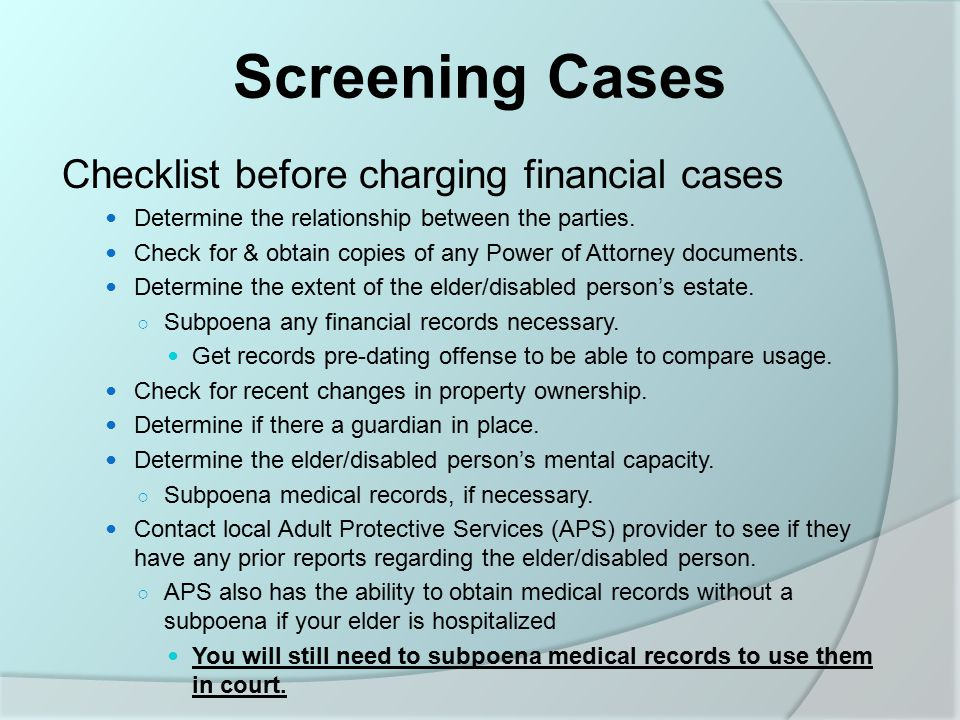 Screening Cases Checklist before charging financial cases Determine the relationship between the parties.