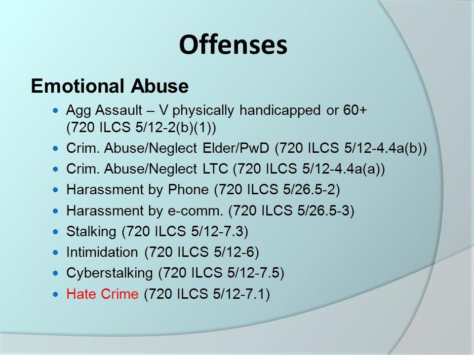 Offenses Confinement Agg.Stalking (720 ILCS 5/12-7.4) Crim.
