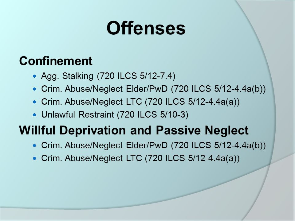 Offenses Confinement Agg. Stalking (720 ILCS 5/12-7.4) Crim.