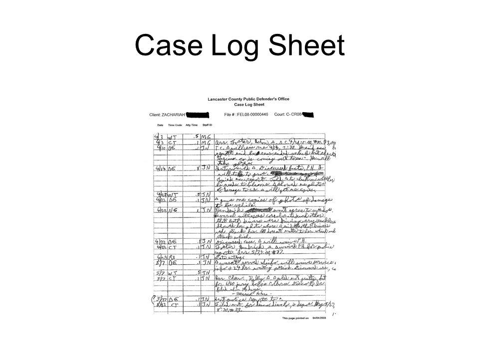 Case Log Sheet