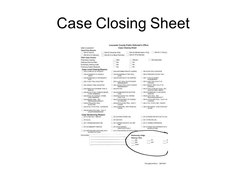 Case Closing Sheet