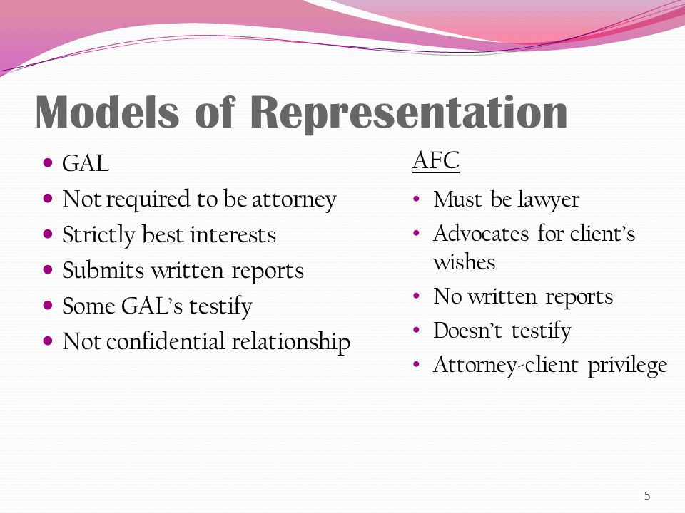 National Association of Counsel for Children Responded to the ABA by saying that to the extent that a child cannot meaningfully participate in the formulation of the client's position (either because the child is preverbal, very young or for some other reason is incapable of judgment and meaningful communication), the attorney shall substitute his/her judgment for the child's and formulate and present a position which serves the child's interests.
