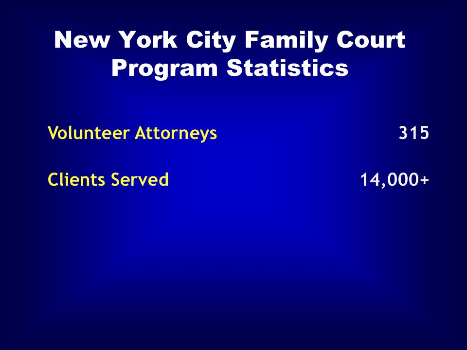 New York City Family Court Program Statistics Volunteer Attorneys315 Clients Served14,000+