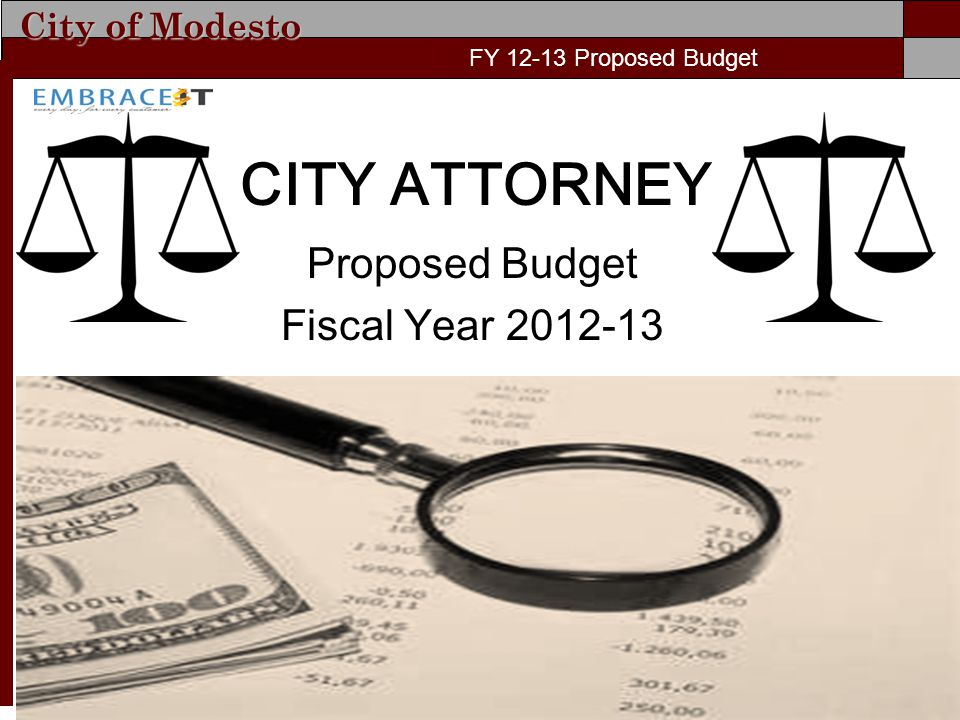 City of Modesto FY 11-12 Proposed Budget CITY ATTORNEY Proposed Budget Fiscal Year 2012-13 FY 12-13 Proposed Budget