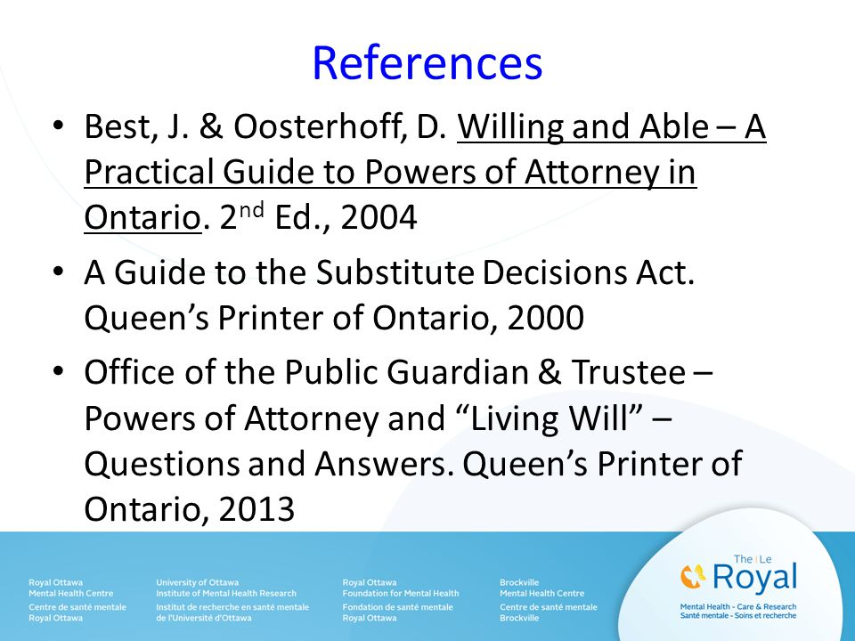 References Best, J. & Oosterhoff, D.