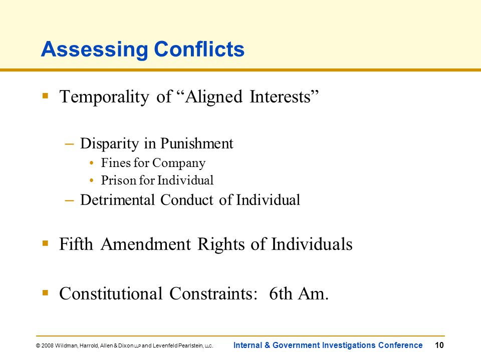 © 2008 Wildman, Harrold, Allen & Dixon LLP and Levenfeld Pearlstein, LLC. Internal & Government Investigations Conference10 Assessing Conflicts  Temp