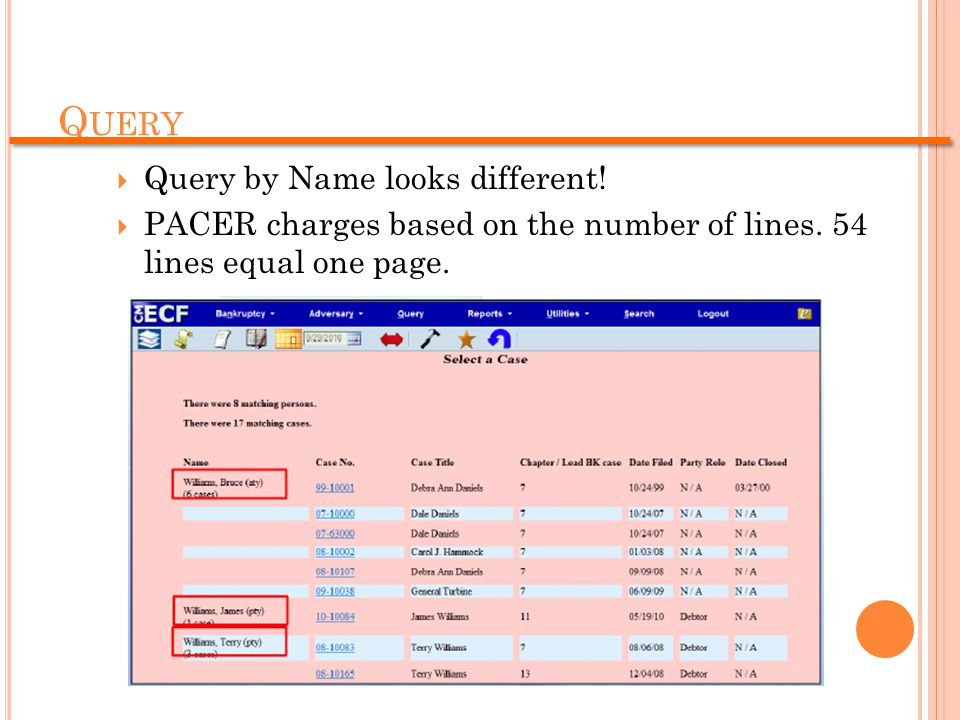 Q UERY  Query by Name looks different. PACER charges based on the number of lines.