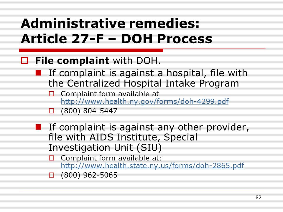 81 Client Advocacy – Confidentiality Breach by Different Agency (cont.) 4.Refer client to an oversight agency Administrative remedy Here are the options….